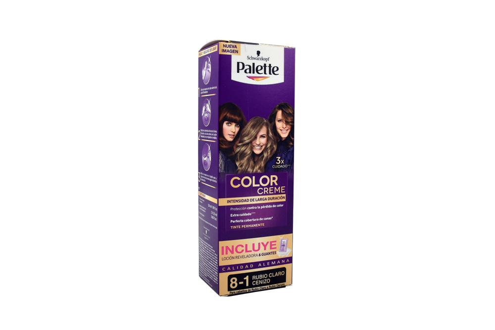 Tinte Palette Color Creme 8-1 Rubio Claro Cenizo Caja Con 1 Kit