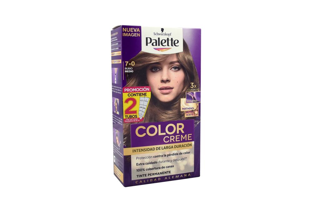 Tinte Palette Color Creme 7-0 Rubio Medio Caja Con 1 Kit Con 2 Tubos