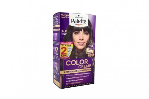 Tinte Palette Color Creme 5-0 Castaño Claro Caja Con 1 Kit Con 2 Tubos