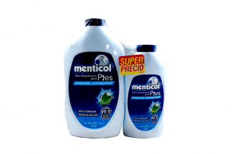 Talco Desodorante Menticol Para Pies Hombre Frasco Con 300 g + Frasco Con 120 g