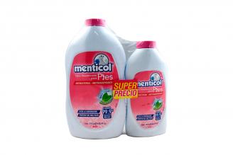 Talco Desodorante Menticol Para Pies Mujer Frasco Con 300 g + Frasco Con 120 g