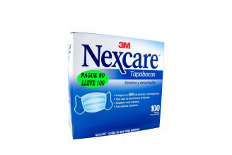 Tapabocas Nexcare Elástico P80L100 Caja Con 100 Unidades