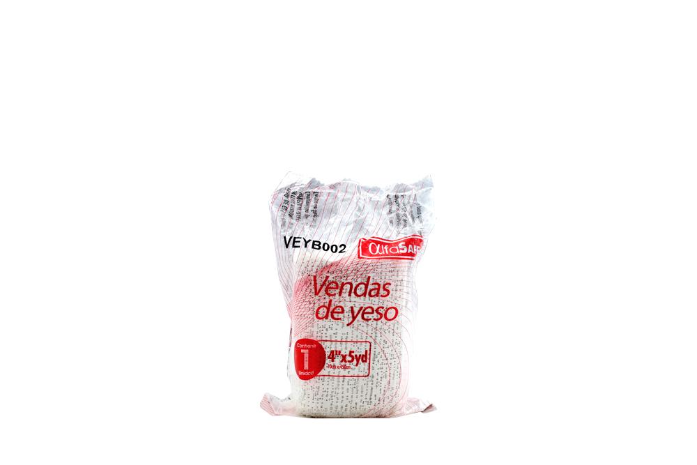 """Venda De Yeso Alfa Safe 4"""" x 5 Yardas Empaque Con 1 Unidad"""