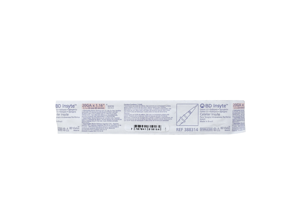 Catéter BD Insyte Autoguard Pnk 20GA x 1.16IN Empaque Con 1 Unidad