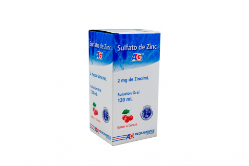 Sulfato De Zinc 2 mg / mL Sabor Cereza Caja Con Frasco Con 120 mL