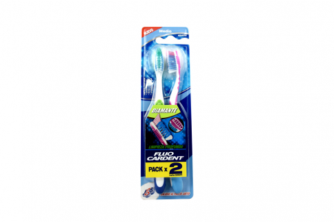 Cepillo Dental Fluocardent Diamante Dureza Media Empaque Con 2 Unidades