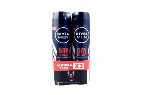 Desodorante Nivea Men Dry Impact 2 Frascos Con 150 mL C/U