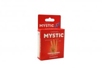 Condones Mystic Triple Combo Pack Caja Con 3 Unidades
