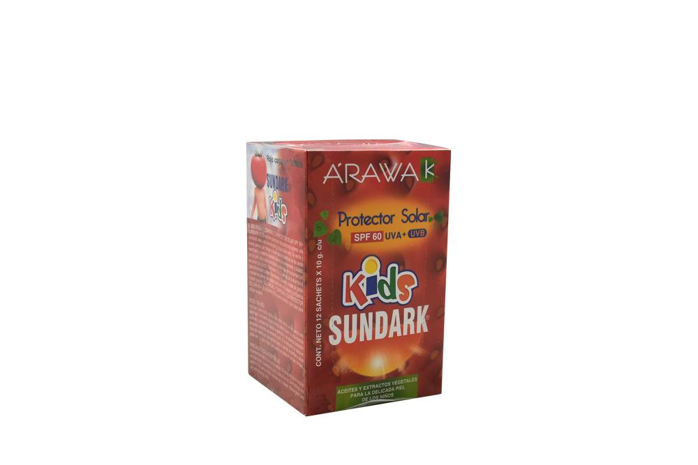 Gel Facial y Corporal Con Protector Solar Sundark Kids Caja Con 12 Sobres