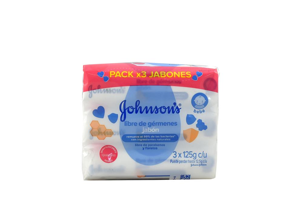 Jabón Johnson's Baby Libre De Gérmenes Empaque Con 3 Barras Con 125 g C/U