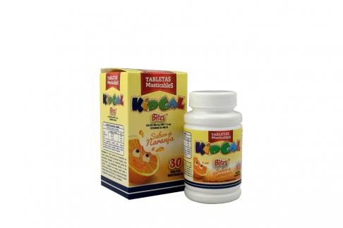 Kidcal Bites Frasco Con 30 Tabletas Masticables - Sabor Naranja