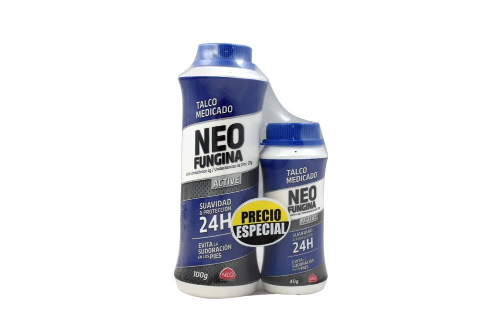 Talco Medicado Neofungina Active Frasco Con 100 g + Frasco Con 40 g