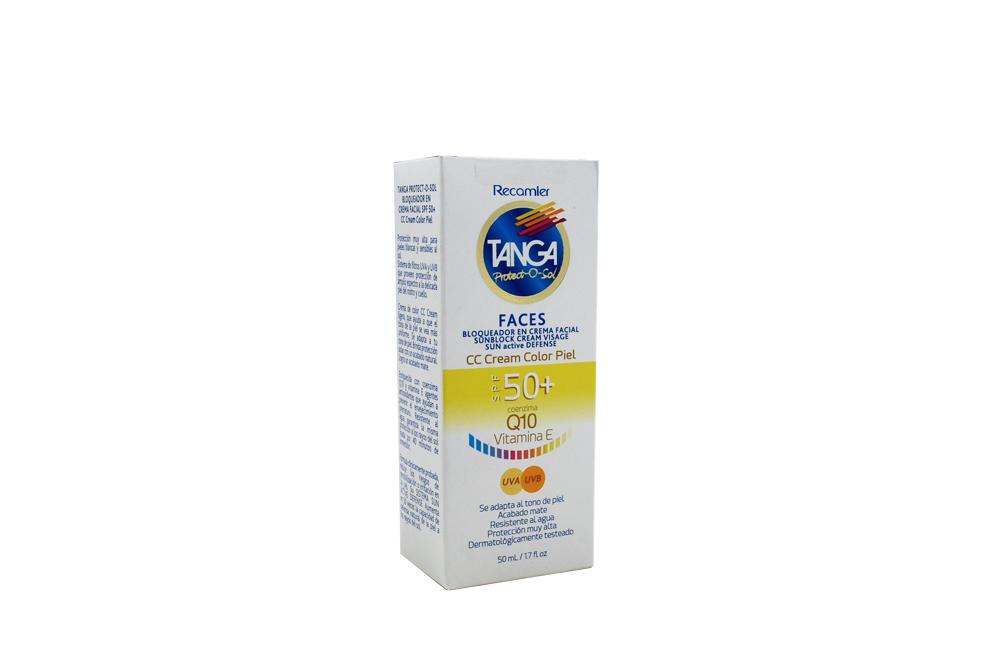 Bloqueador Tanga Crema Facial Color Piel Fps 50 Caja Con Frasco Con 50 mL