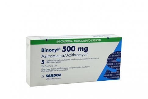 Binozyt 500 mg Caja Con 5 Tabletas Recubiertas Rx Rx2