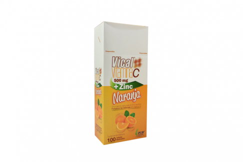 Vical Vitamina C + Zinc 500 mg Caja Con 100 Tabletas – Sabor Naranja