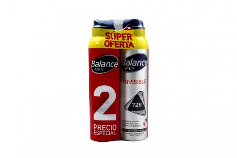 Desodorante Balance Invisible Men Aerosol Empaque Con 2 Unidades De 160 mL C/U