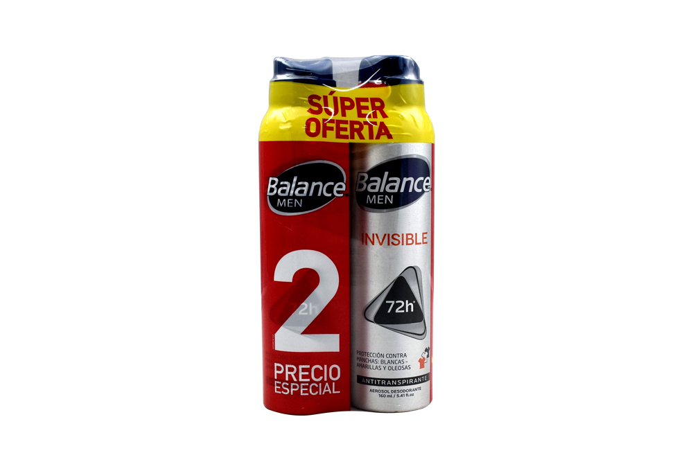 Desodorante Balance Men Invisible Aerosol Empaque Con 2 Unidades De 160 mL C/U