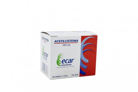Acetilcisteina 200 g Ecar Caja Con 30 Sobres Con 1.8 g C/U