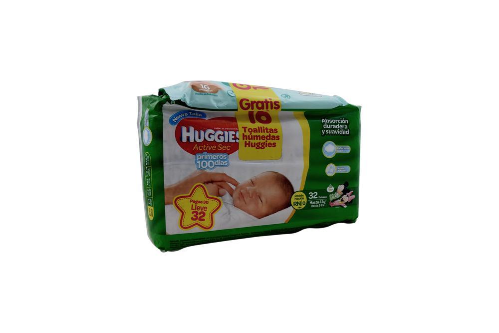 Pañales Huggies  Active Sec etapa 0 Paca Con 32 Unidades