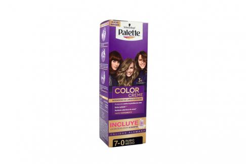 Tinte Palette Color Creme Tubo 7-0 Rubio Medio + Oxigenta Caja Con 2 Unidades