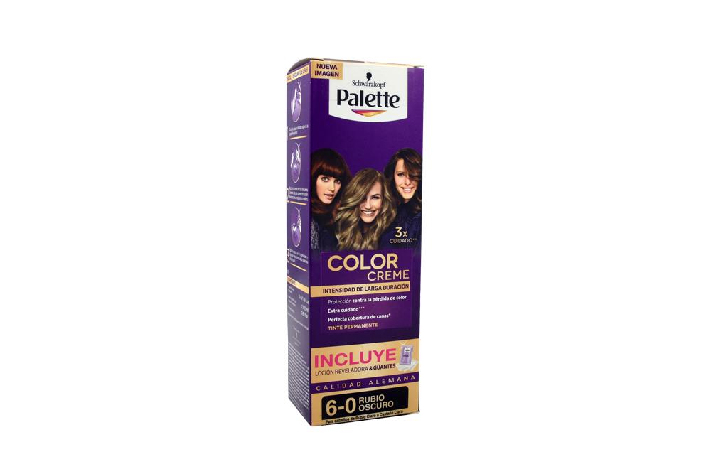 Tinte Palette Color Creme Tubo 6-0 Rubio Oscuro + Oxigenta Caja Con 2 Unidades