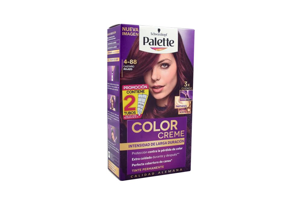 Tinte Palette Color Creme Tubo 4-88 Castaño Rojizo + Oxigenta Caja Con 2 Unidades