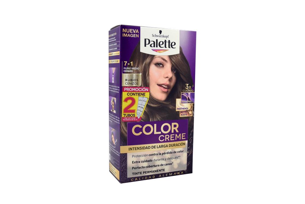 Tinte Palette Color Creme Tubo 7-1 Rubio Medio Cenizo Caja Con 2 Unidades