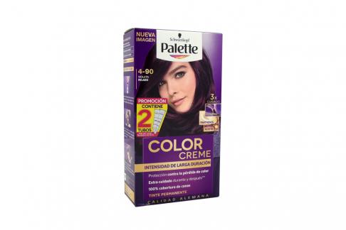 Tinte Palette Color Creme Tubo 4-90 Violeta Rojizo Caja Con 2 Unidades