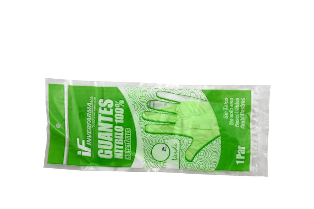 Guantes De Nitrilo Color Verde Talla S Empaque Con 2 Unidades