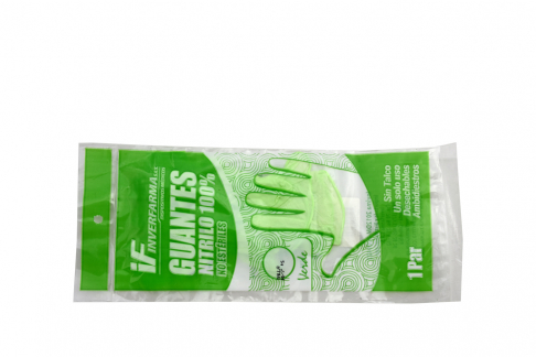 Guantes De Nitrilo Color Verde Talla M Empaque Con 2 Unidades
