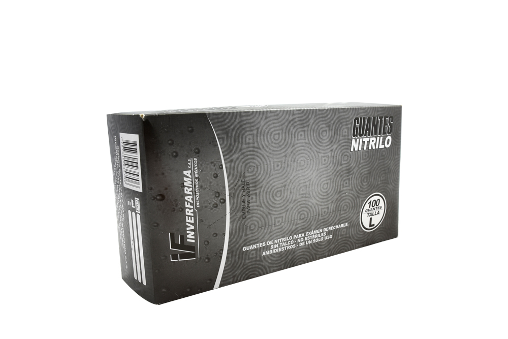 Guantes De Nitrilo Color Negro Talla L Caja Con 100 Unidades