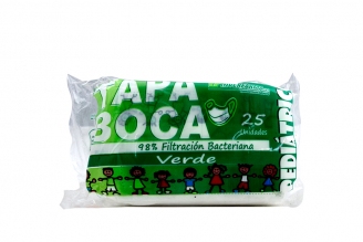 Tapaboca Pediátrico Verde Empaque Con 25 Unidades