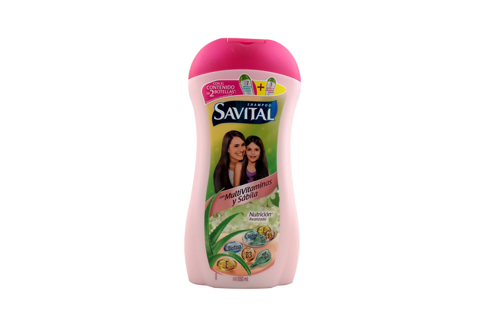 Shampoo Savital Con Multivitaminas y Sábila Frasco Con 550 mL