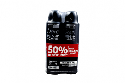 Desodorante Dove Men + Care Antimanchas Empaque Con 2 Aerosoles 50 mL C/U