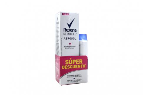 Desodorante Rexona Clinical Aerosol Caja Con Frasco Con 90 g + Talco Rexona Efficient Con 60 g