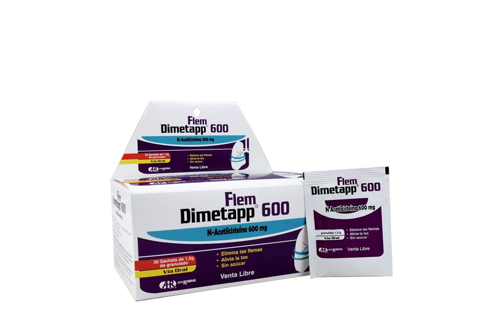 Dimetapp Flem 600 mg Caja Con 30 Sachets Orales Con 1.5 g C/U