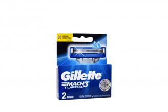 Repuesto Máquina Para Afeitar Gillette Mach 3 Turbo Caja Con 2 Cartuchos