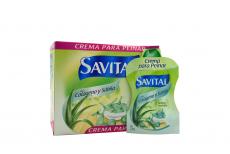 Crema Para Peinar Savital Con Colágeno y Sábila Caja Con 20 Sobres Con 23 mL C/U