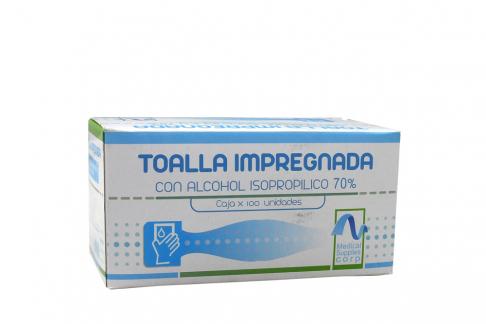 Toalla Impregnada Con Alcohol Isopropílico 70% Caja Con 100 Unidades