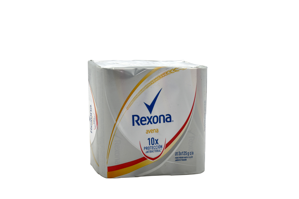 Jabón De Tocador Rexona Antibacterial Avena Empaque Con 3 Barras Con 125 g C/U