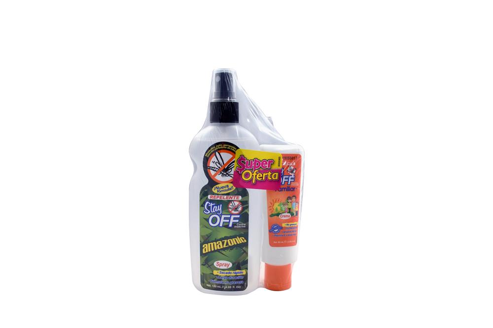 Repelente Stay Off Amazonic Spray Con 120 mL + Tubo Con Crema Con 60 mL