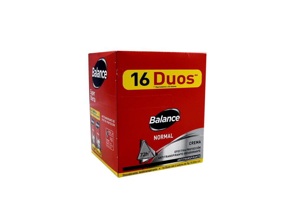 Desodorante Balance Normal Crema Caja Con 16 Sobres Dobles