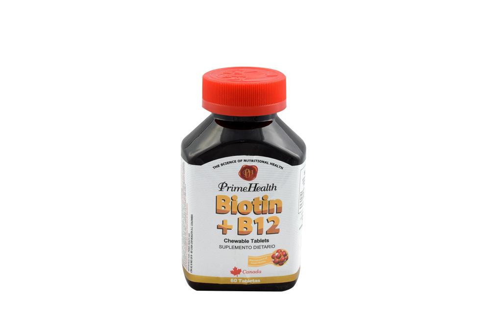 Biotin + B12 Chewable Frasco Con 60 Tabletas