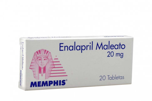 Enalapril Maleato 20 mg Caja Con 20 Tabletas Rx