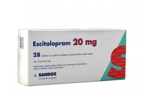 Escitalopram 20 mg Caja Con 28 Tabletas Rx Rx4