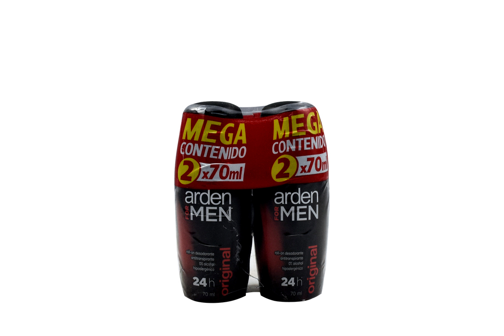 Roll-On Desodorante Antitranspirante 24H Arden For Men Empaque Con 2 Frascos Con 70 mL