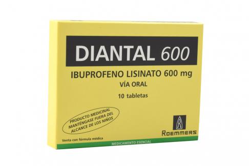 Diantal 600 mg Caja Con 10 Tabletas Rx