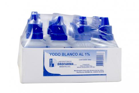 Yodo Blanco 1% Drofarma Caja Con 12 Unidades Con 20 mL C/U