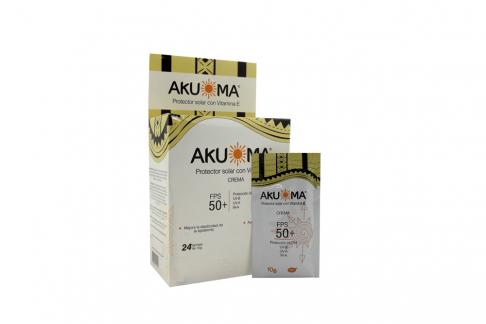 Akuoma Bloqueador Fps 50 Caja Con 24 Sobres  Con 10 g