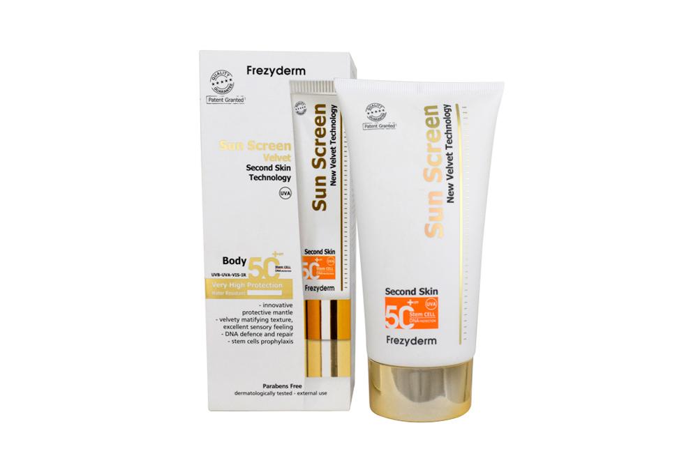 Protector Solar Frezyderm Sun Screen Velvet Body Lotion SPF 50+ Caja Con Tubo Con 125 mL